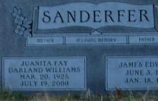DARLAND WILLIAMS SANDERFER, JUANITA FAY - Grayson County, Texas | JUANITA FAY DARLAND WILLIAMS SANDERFER - Texas Gravestone Photos