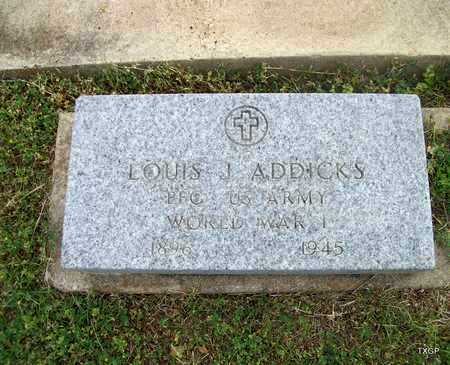 ADDICKS (VETERAN WWI), LOUIS JOHN - Lavaca County, Texas   LOUIS JOHN ADDICKS (VETERAN WWI) - Texas Gravestone Photos