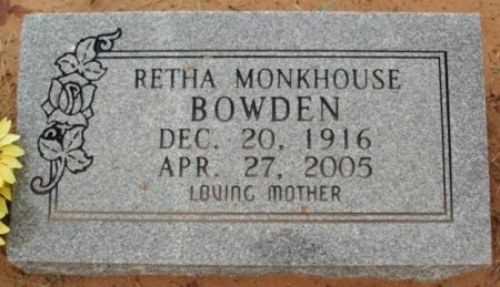 MONKHOUSE BOWDEN, RETHA - Red River County, Texas | RETHA MONKHOUSE BOWDEN - Texas Gravestone Photos