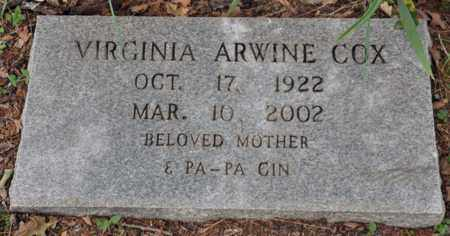 ARWINE COX, VIRGINIA - Tarrant County, Texas | VIRGINIA ARWINE COX - Texas Gravestone Photos