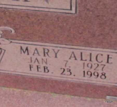 DUNCAN, MARY ALICE (CLOSE UP) - Wilbarger County, Texas   MARY ALICE (CLOSE UP) DUNCAN - Texas Gravestone Photos