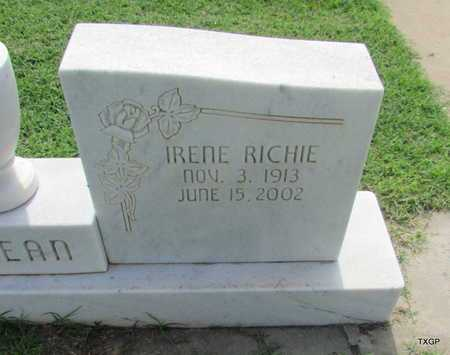 RICHIE MCLEAN, IRENE (CLOSE UP) - Wilbarger County, Texas | IRENE (CLOSE UP) RICHIE MCLEAN - Texas Gravestone Photos