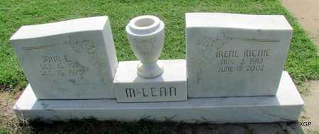 MCLEAN, JOHN E - Wilbarger County, Texas | JOHN E MCLEAN - Texas Gravestone Photos