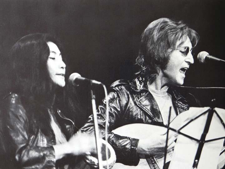 Yoko Ono performing with John Lennon