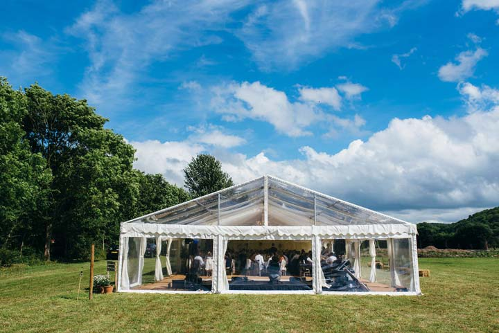 A gorgeous example of a clearspan marquee, to create an inexpensive version of Pippa's reception space, provided by Somerset's Abbas Marquees