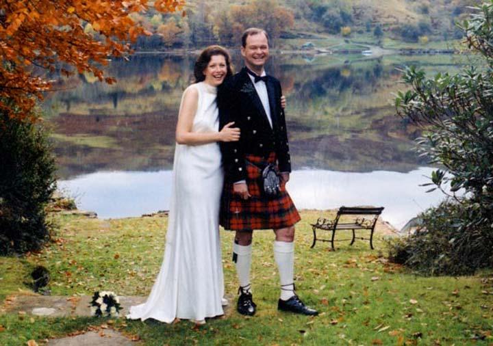 Highland Wedding Loch Awe, Taychreggan Hotel, happy wedding couple