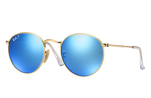 75aedbde5 Ray-Ban RB3447 112/4L Round Metal Polarized Arista Gold Blue Flash  Sunglasses