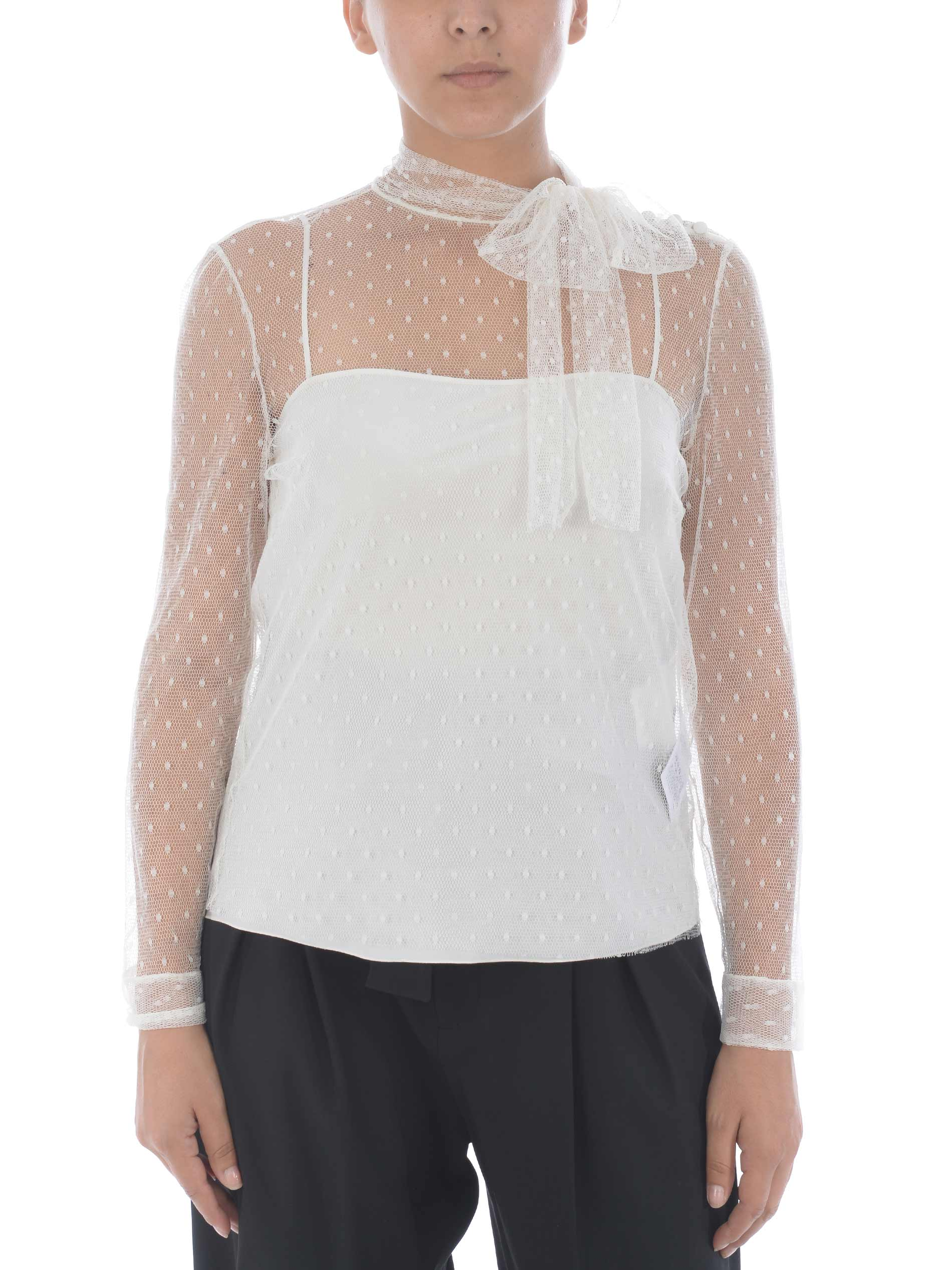 Red Valentino blouse in plumetis tulle RED VALENTINO | -96357801 | UR3AB1Y01GKA03