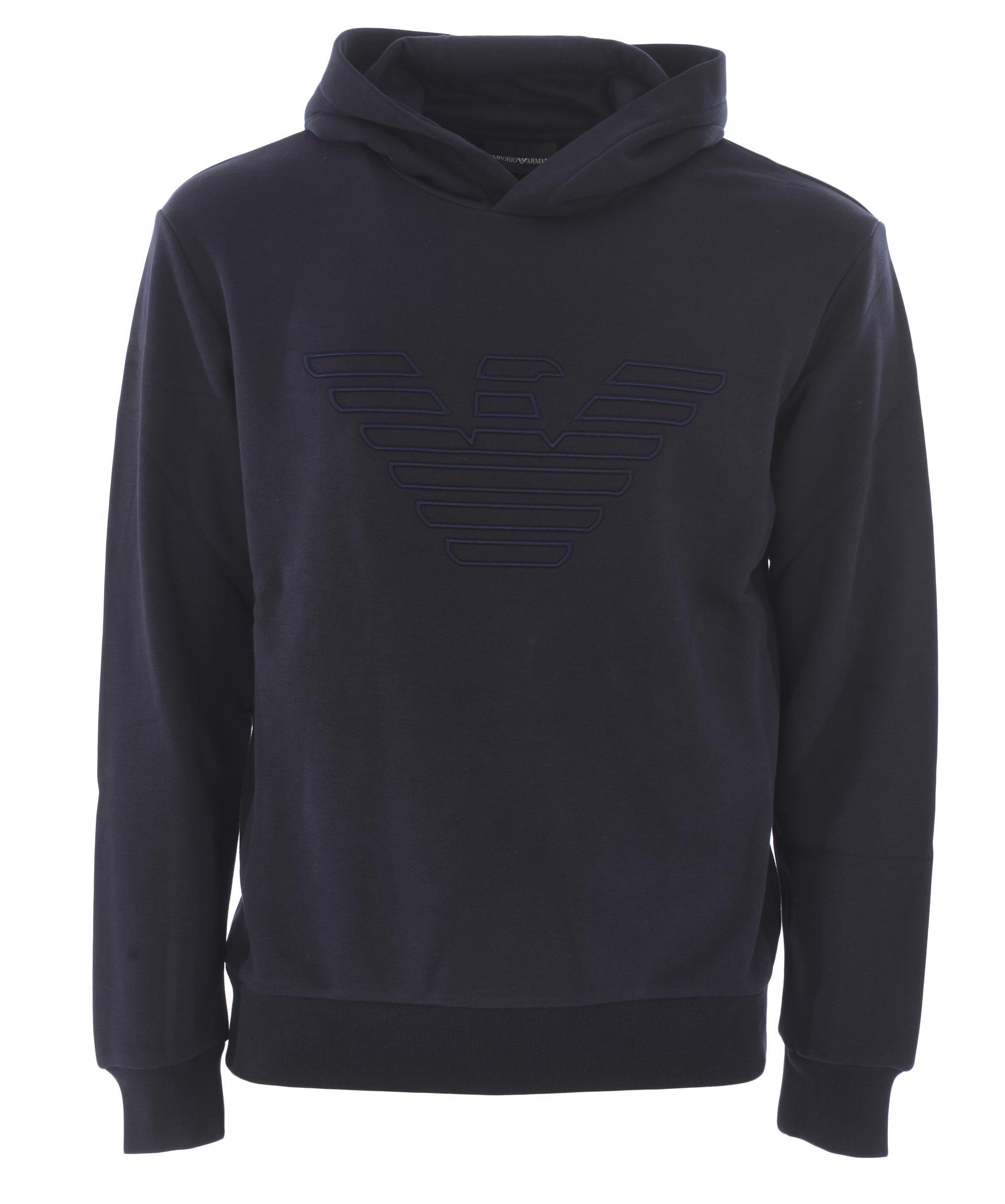 Emporio Armani sweatshirt in dark blue cotton blend.