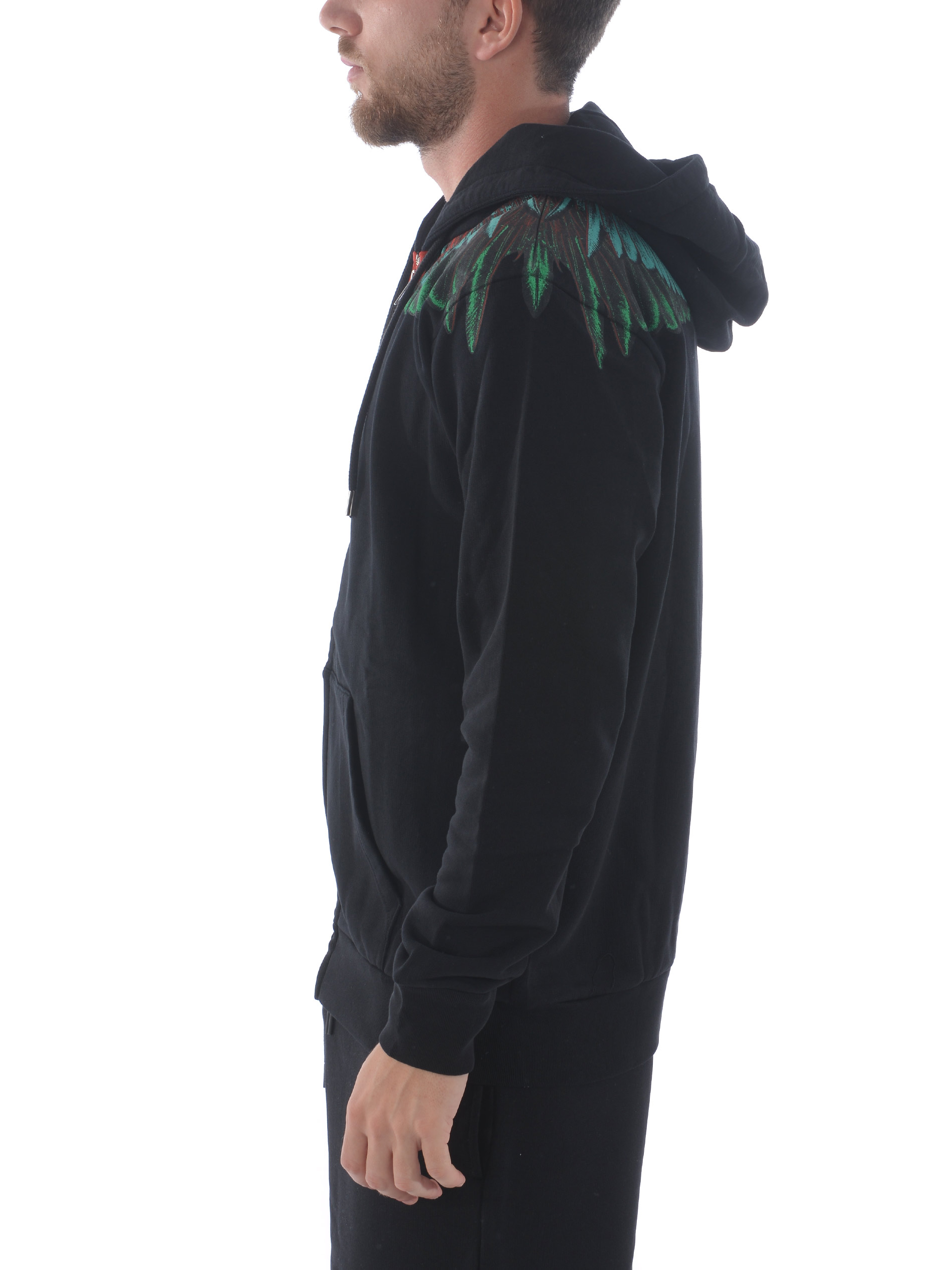 Felpa Marcelo Burlon County of Milan green wings zipped hoodie MARCELO BURLON | 10000005 | CMBE001R20FLE0021055