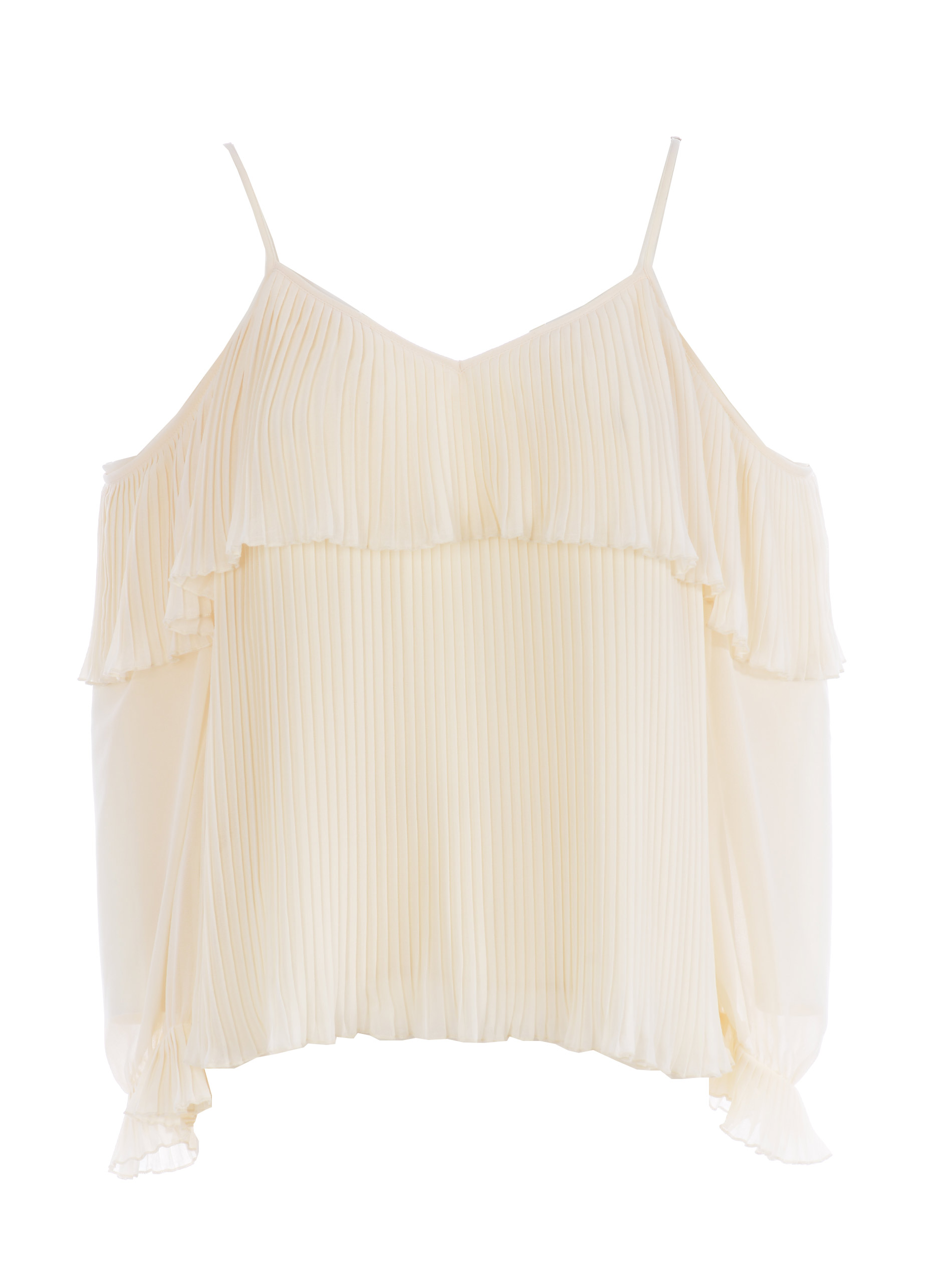 Twinset blouse in ivory pleated georgette