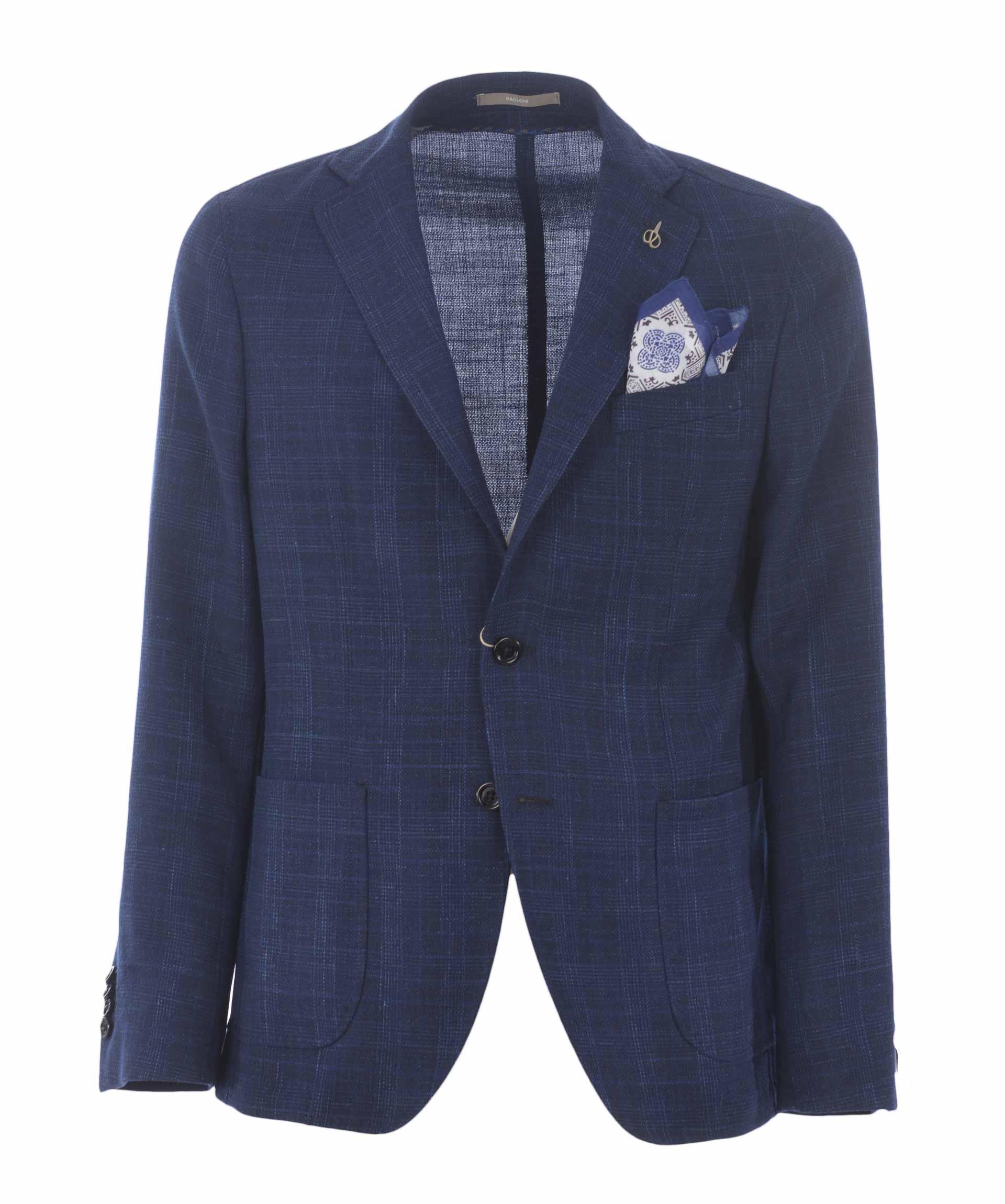 giacca a quadri blu poaloni