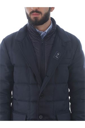 Fay long double front down jacket in diagonal wool-effect fabric FAY | 783955909 | NAM37410530RDAU807