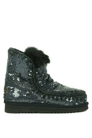 Mou Eskimo all sequins rabbit suede ankle boots MOU | 76 | FW101015GSEQ-NBK