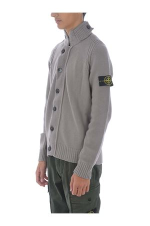 Stone Island cardigan in dove gray wool blend. STONE ISLAND | 850887746 | 564A3V0068