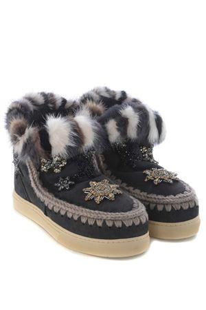 Stivaletti Mou eskimo sneaker star patches & mink fur trim MOU | 76 | MINIESKIMO-SNEAKPATCH-OFFBL