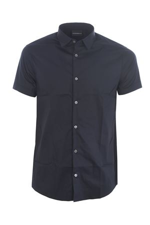 Emporio Armani shirt in dark blue stretch poplin.  EMPORIO ARMANI | 6 | 3H1C101N6RZ-0920