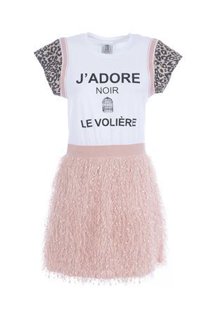 Le Voliere dress in cotton with fringes