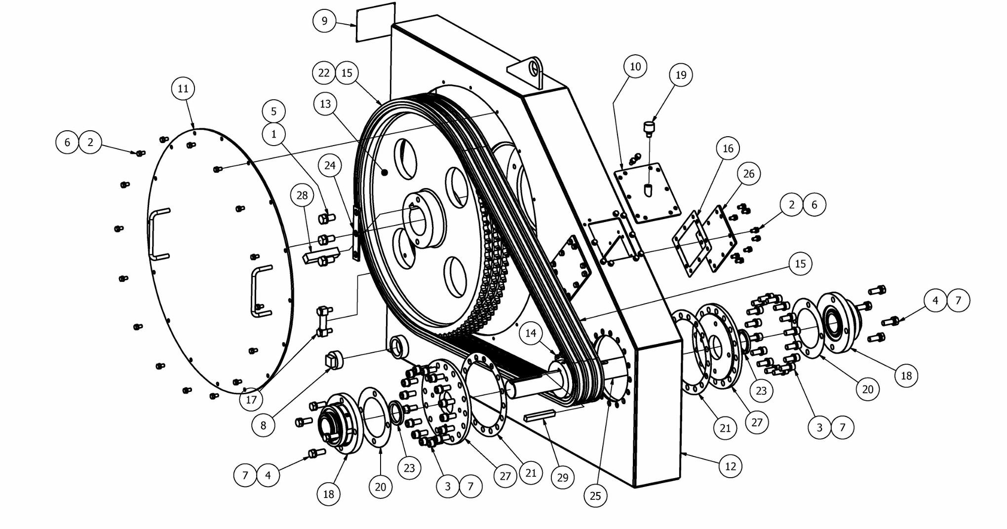 TT-250 Chainbox Parts View