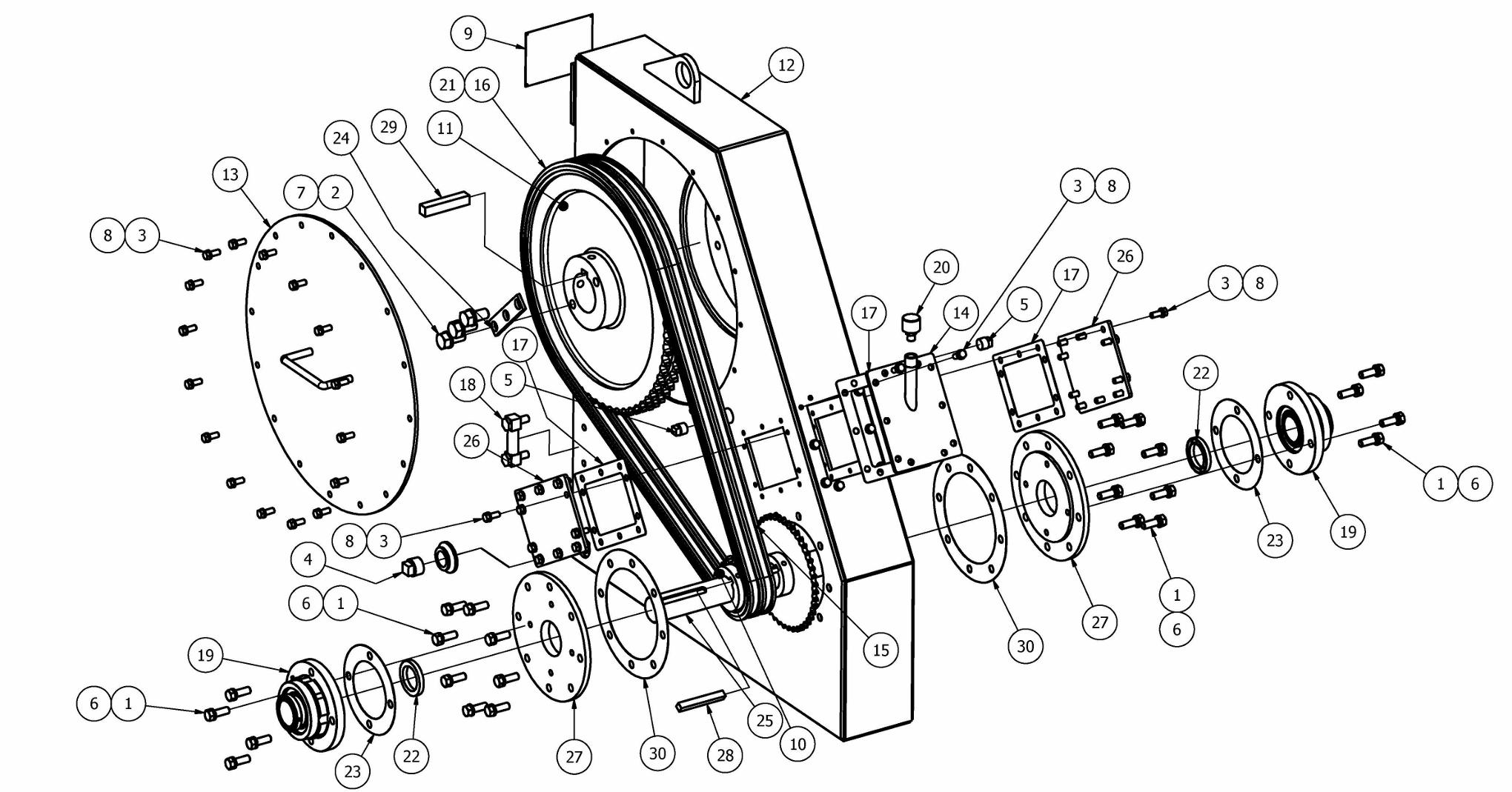 TT-150 Chainbox Parts View