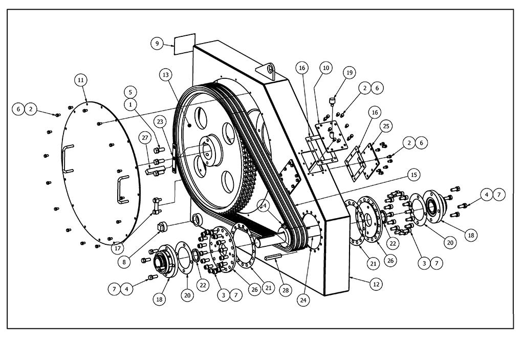 TT-540 Chainbox Parts View (same as TT-250)