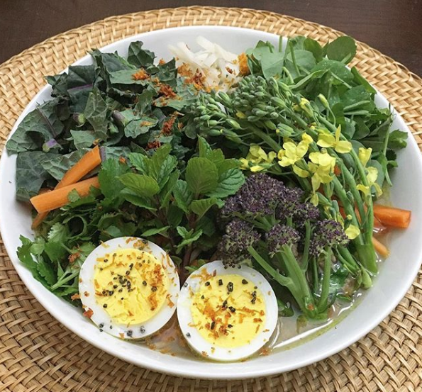 There's no need for vitamins (which come with their own health risks) when you eat nutrient-rich, biodiverse foods. Here's one of our favorite early spring meals: homemade Raman soup with whole wheat organic ramen, duck eggs, and fresh organic veggies & herbs from our garden.  How to avoid getting sick by Tyrant Farms