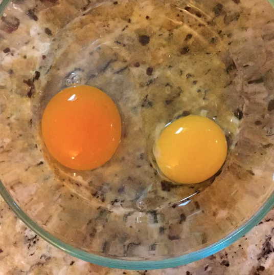One of our duck eggs (left) versus an organic free-range chicken egg (right). The average duck egg weighs at least 2.5 ounces, the equivalent of a jumbo chicken egg. Duck facts, by Tyrant Farms
