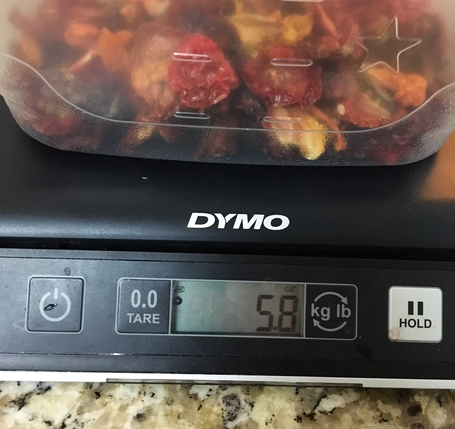 Hard to believe, but all those fresh tomatoes only yielded 5.8 ounces of dehydrated tomatoes.