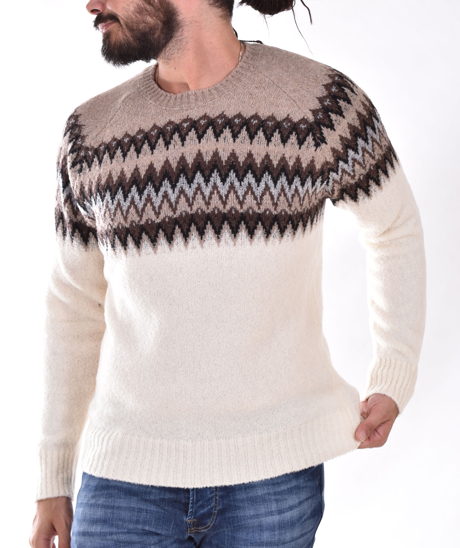 Gran Sasso beige white patterned sweater GRAN SASSO   2319031904005