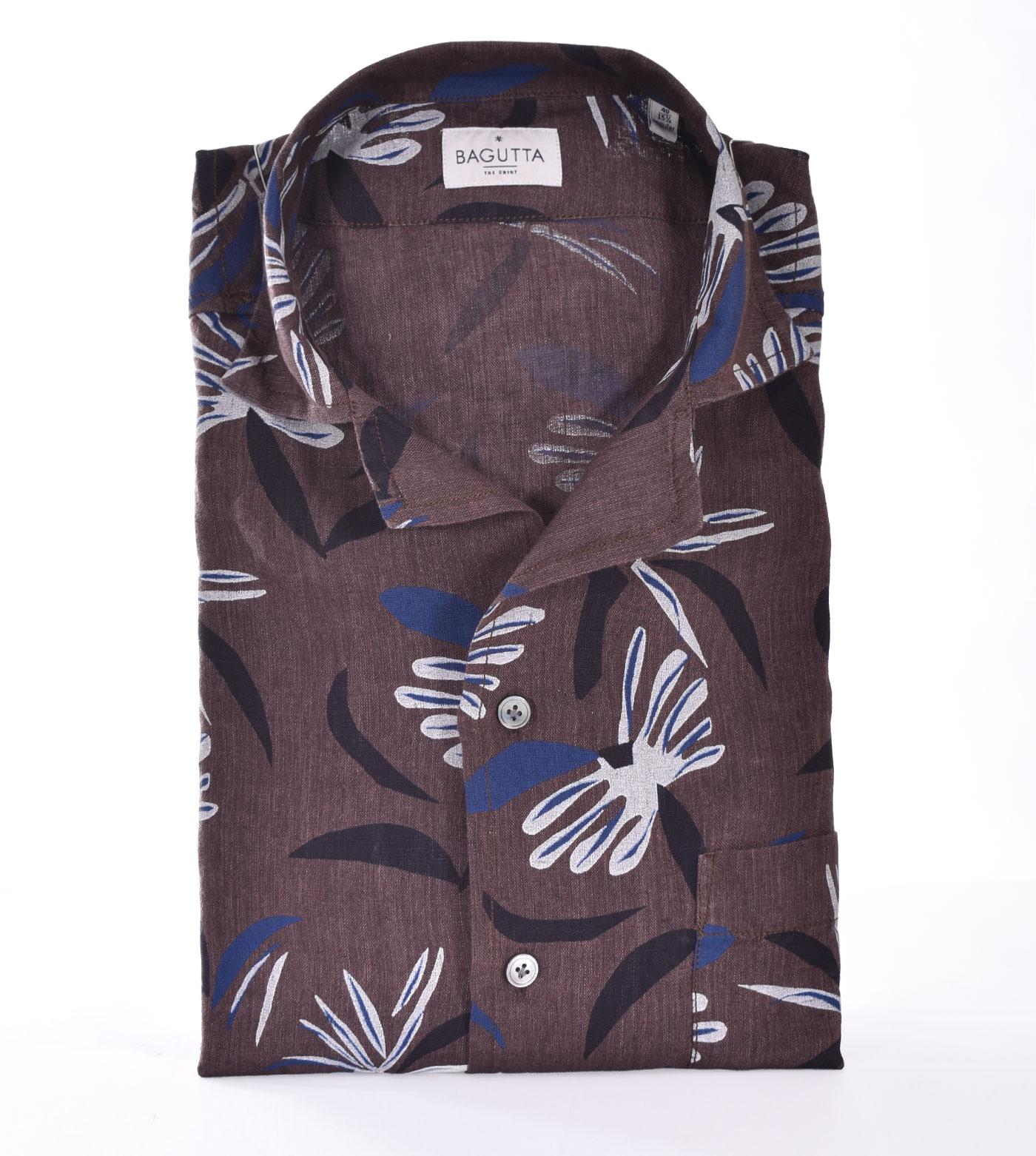 Bagutta shirt half sleeve linen maui flowers BAGUTTA | 11183670