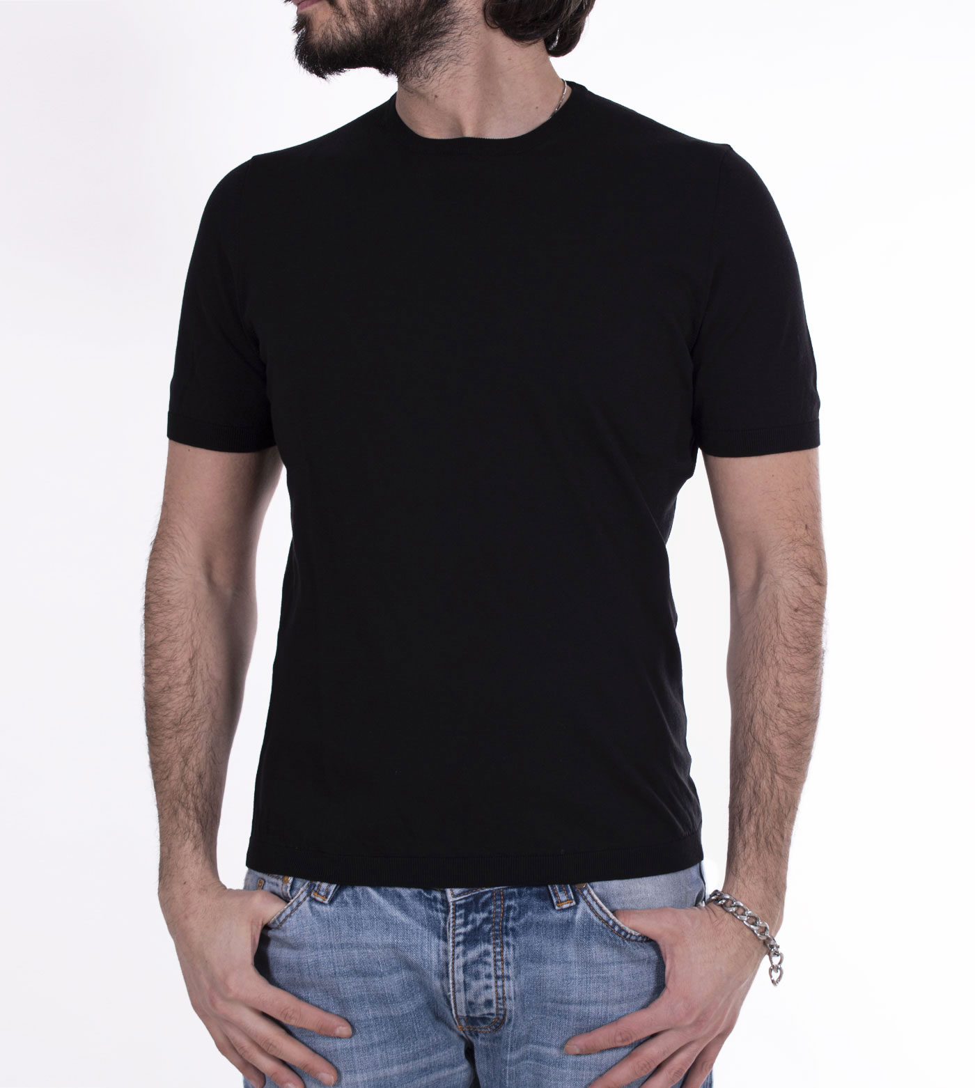 Gran Sasso fresh cotton black t-shirt GRAN SASSO | 4315420731099