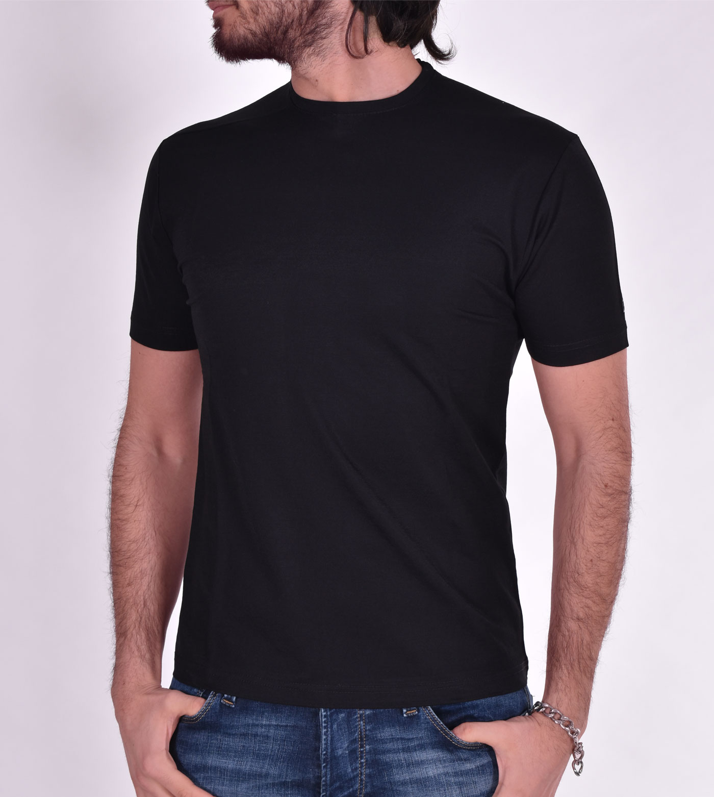 Black nylon viscose Outfit Italy t shirt OUTFIT ITALY | T005101