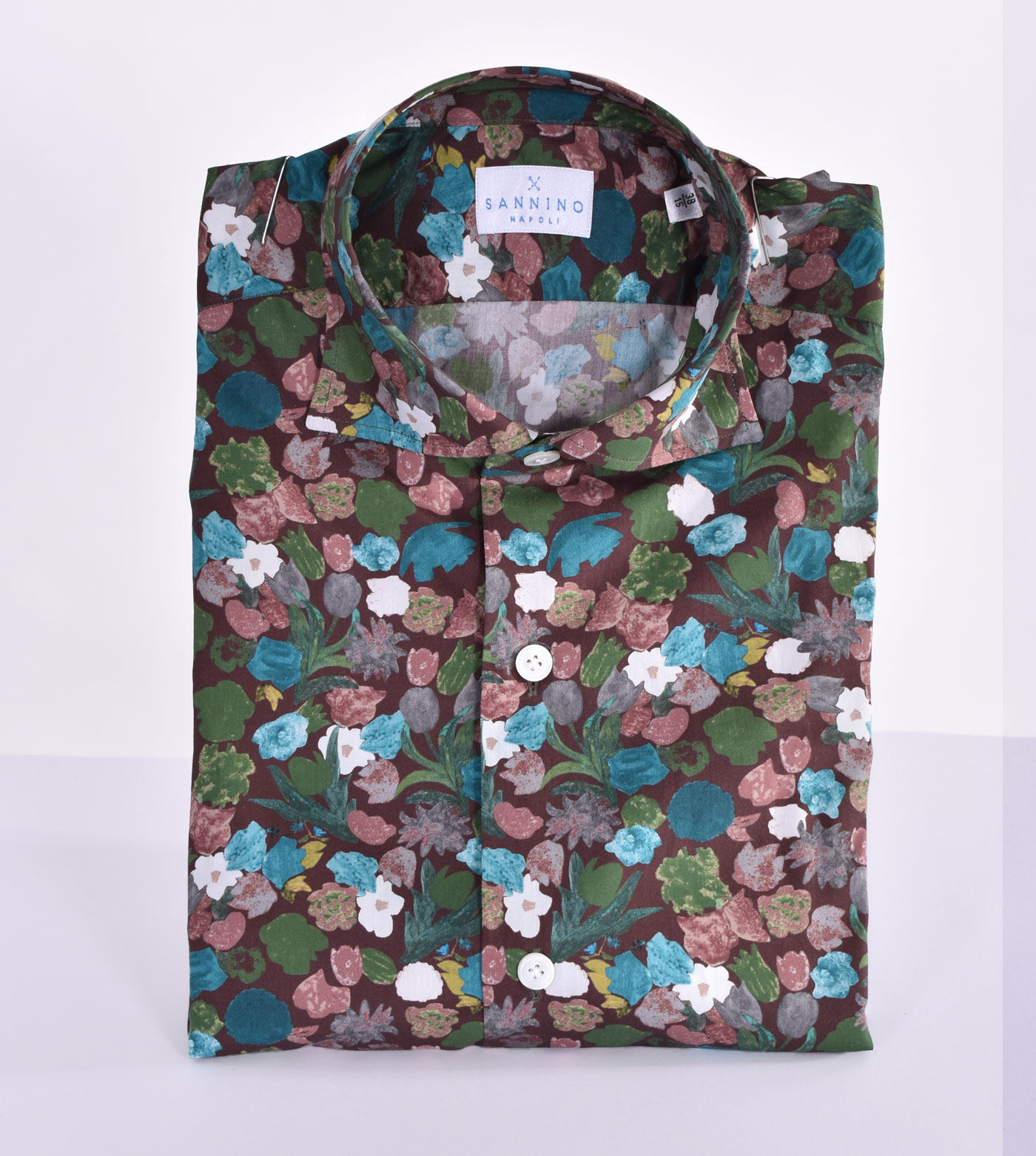 Sannino brown flower shirt SANNINO | A80303