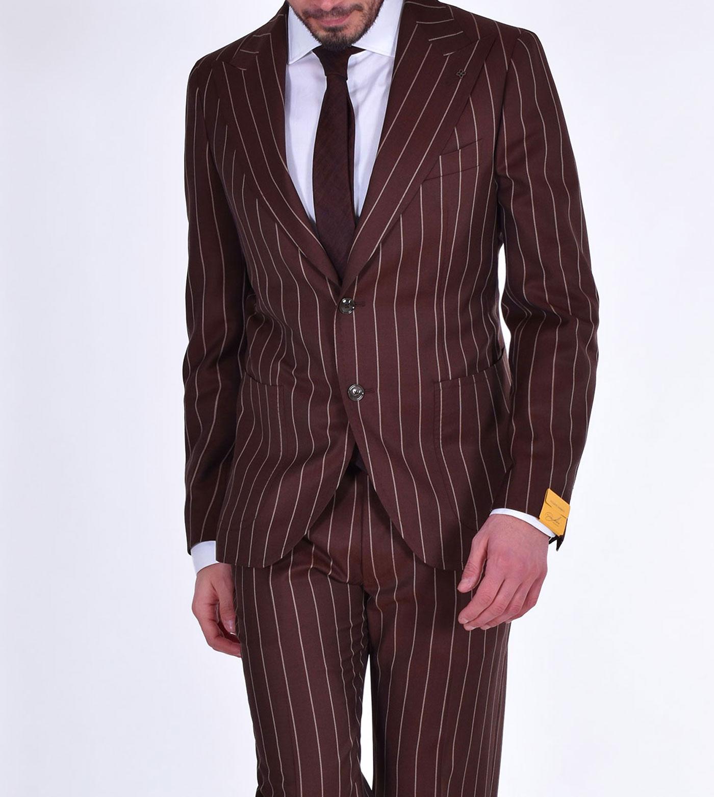 Pino Lerario brown pinstripe suit PL26KBR TAGLIATORE   12REA371EM866