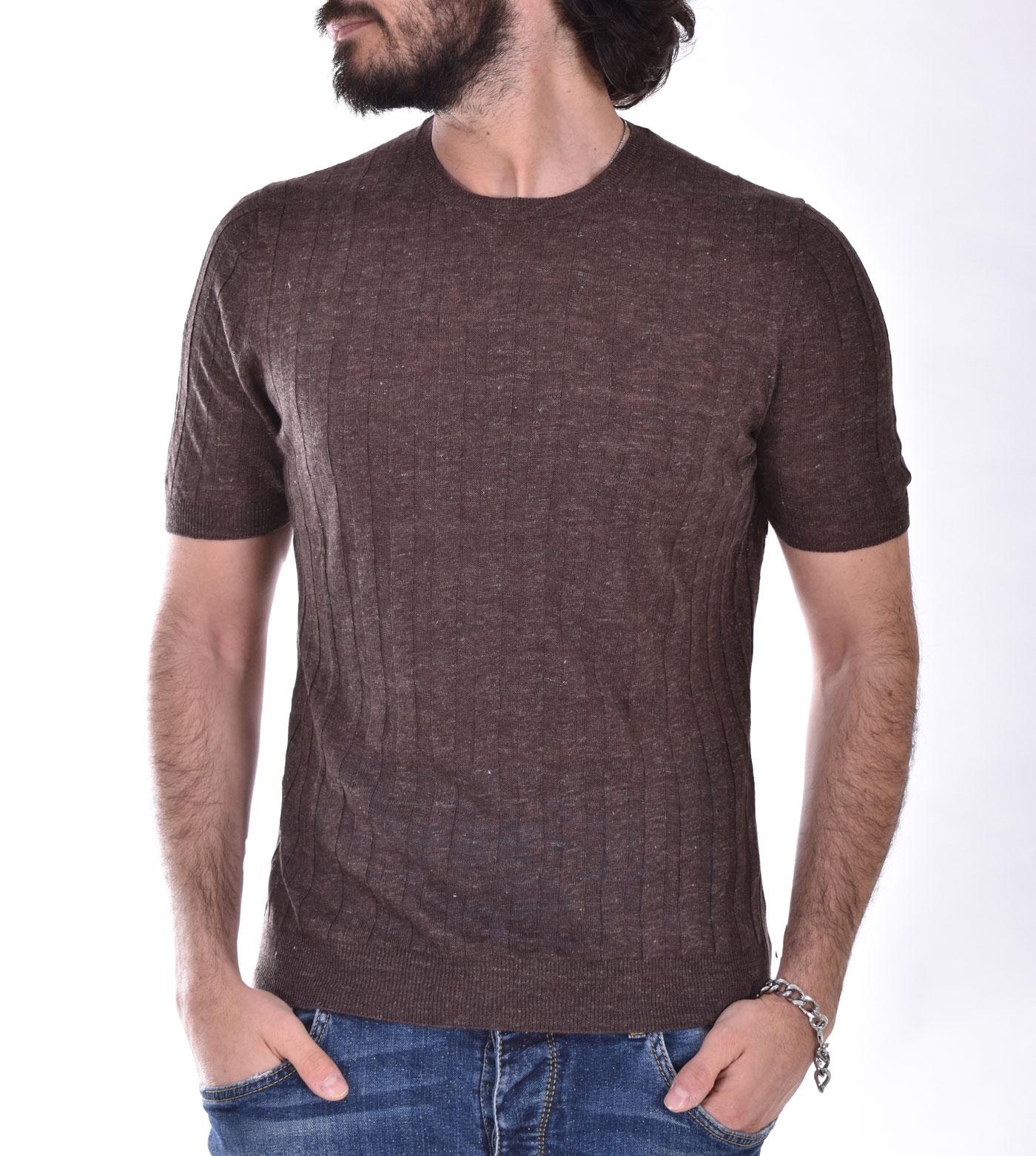 Brown linen Tagliatore T shirt TGCLI543 TAGLIATORE   TGCLI543175