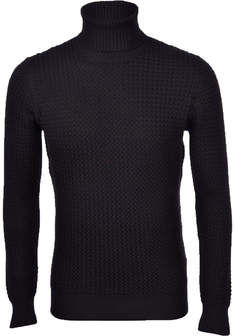 Turtleneck Gran sasso wool men braids black GRAN SASSO | Sweaters | 57157/14280099