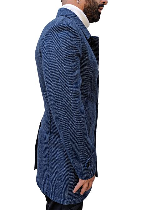 L.B.M. 1911 blue coat herringbone man L.B.M. 1911 by Lubiam | Coats | 85084 93385