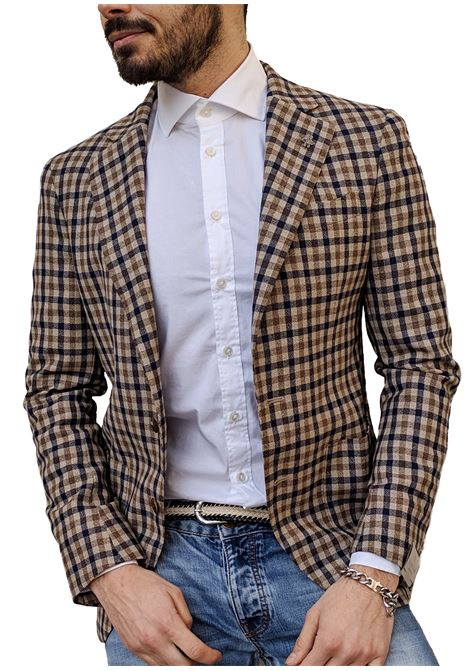 Lubiam blazer men beige blue LUBIAM | Blazers | 92051/1 21401