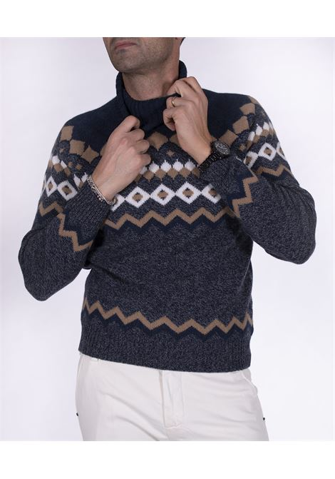 Gran Sasso blue multicolor patterned turtleneck GRAN SASSO | Sweaters | 13121/22613852