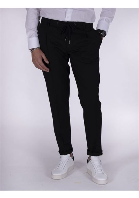 Hosio black drawstring chinos trousers HOSIO | Trousers | IUW20403P2001