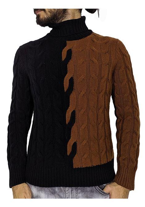 Dolcevita Tagliatore trecce bicolore zack nero marrone TAGLIATORE | Maglie | ZACK587116