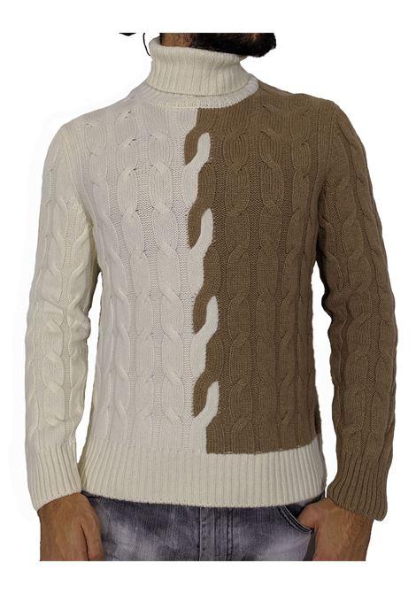 Dolcevita Tagliatore trecce bicolore zack bianco beige TAGLIATORE | Maglie | ZACK587175