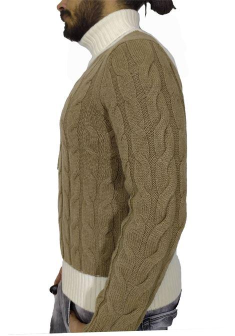 Turtleneck Tagliatore braids two-tone zack white beige TAGLIATORE | Sweaters | ZACK587175