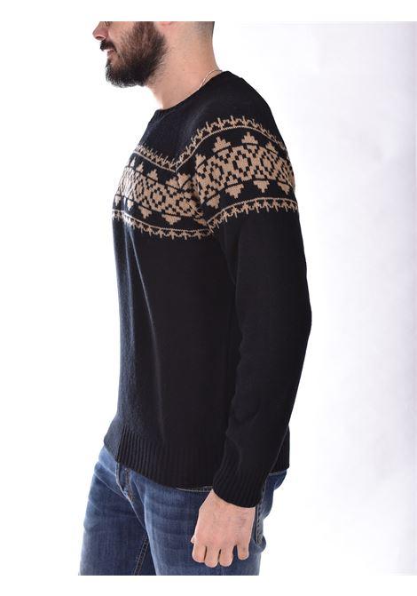 Maglione Gran Sasso air wool nero beige GRAN SASSO | 1312522608099