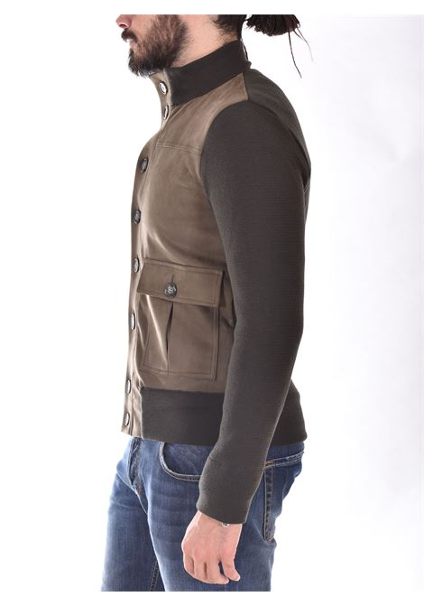 Hosio military green suede knit jacket HOSIO | 21119M7146