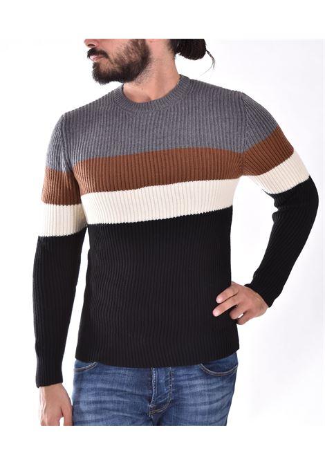 Tagliatore sweater with bands black gray mglla TAGLIATORE | MGLLA4CL2