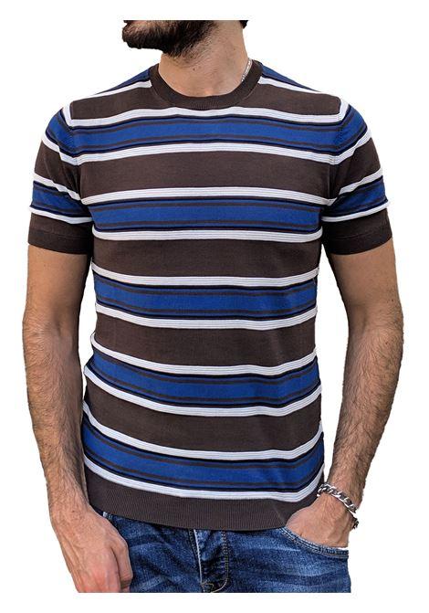 Paolo Pecora brown blue striped t-shirt PAOLO PECORA | T-shirts | A027F1000100