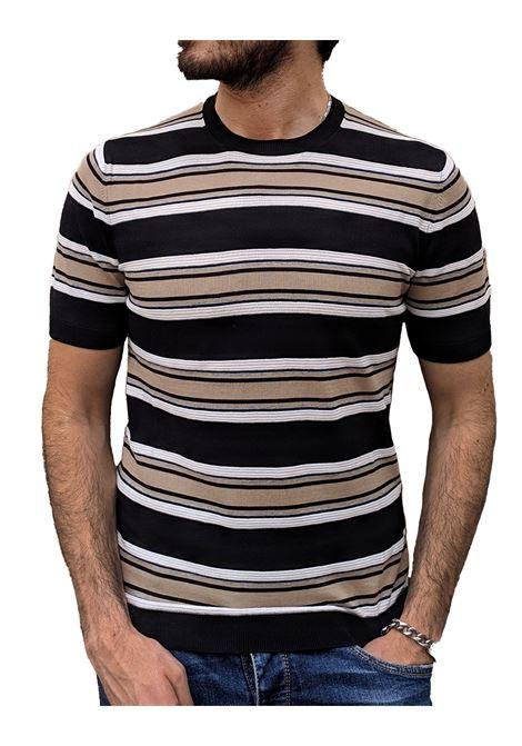 T-shirt beige nera rigata Paolo Pecora PAOLO PECORA | T-shirt | A027F1000103