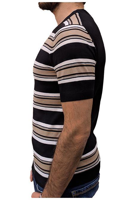T-shirt beige black Paolo Pecora PAOLO PECORA | T-shirts | A027F1000103