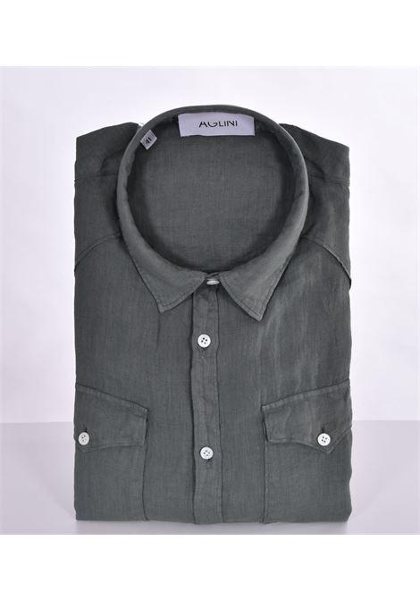 Camicia Aglini mario arkansas lino verde AGLINI | Camicie | 6205901020